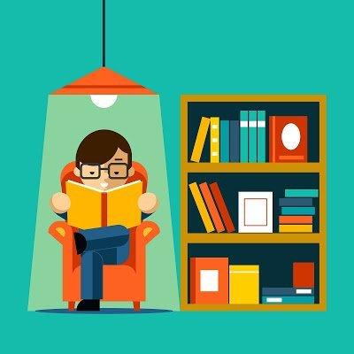 reading and bookshelf